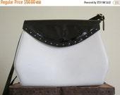 Ferragamo / Salvatore Ferragamo / Ferragamo Bag / Black and White / 80s Bag / Black Patent / Convertible Bag / Designer Bag / Italian Bag