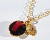 SALE Garnet Necklace - January Birthstone Necklace - Personalized Garnet Necklace - Garnet Gold Necklace - January Birthstone Necklace