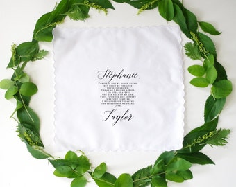 Wedding Handkerchief for STEPMOM. Printed handkerchief. Wedding handkerchief.