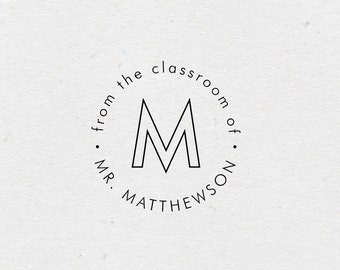 From the Classroom of Book Stamp. Gift for Teacher. Style #17. Personalized Bookplate Stamp. Custom Wooden Library Stamp. Self Inking Stamp.