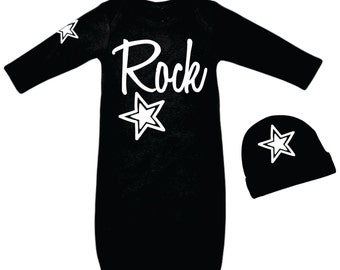 Baby Boys Rock Star Outfit - Baby Boys Rocker Clothes - Newborn Boy Comming Home  Black and White