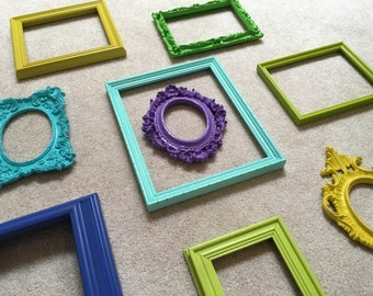 Green Blue Turquoise Empty Frame Set, Wall of Frames, Ornate Vintage Frames, Funky Hollywood Decor
