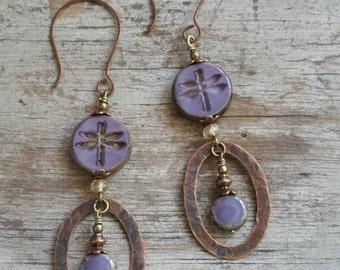 Dragonfly Earrings Purple Hoop Earrings Bohemian Long Earrings