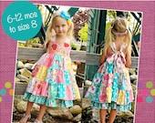 Tiffany's Sweetheart Patchwork Twirly Dress PDF Pattern Sizes 6-12 months to size 8
