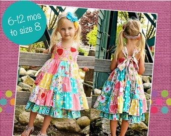 Tiffany's Sweetheart Patchwork Twirly Dress PDF Pattern Sizes 6-12 months to size 8