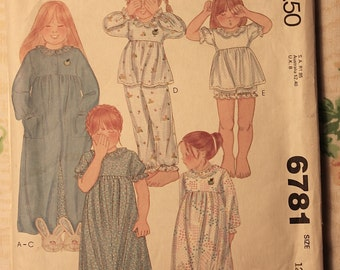 McCall's Vintage Sewing Pattern 6781 Girls size 12 Robe Nightgown and Pajamas 1979