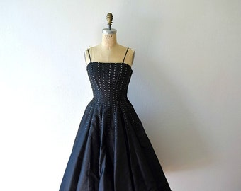 50% SALE . 50s party dress . 1950s black rhinestone cocktail dress