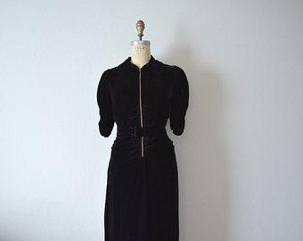 1930s black velvet dress . vintage 30s dress