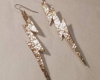 Metallic Gold Lightning Bolt Earrings | Leather Earrings | Lightning Bolt Earrings | Metallic Earrings | Statement Earrings | Gold Earrings