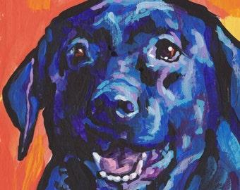 Labrador Retriever modern Dog art print black lab pop dog art bright colors 8x8