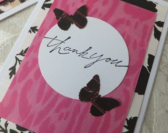 Thank You Cards, Black White and Pink with Butterflies
