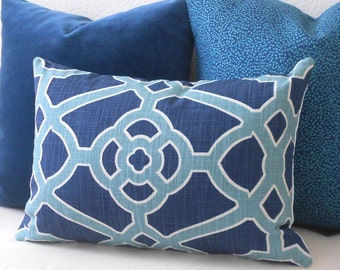 Indigo and teal trellis decorative pillow cover