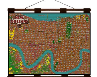 NEW ORLEANS MAP 4E- Handmade Leather Wall Hanging - Travel Art