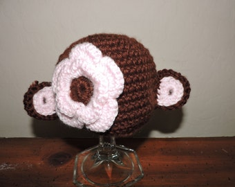 Handmade Crocheted Newborn Baby Girls Monkey Hat With Pink Flower Great Photo Prop or Gift approx 12""