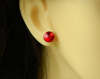 terling Silver Stud Earrings Red Rivoli 8mm Crystal handmade with Genuine Swarovski Elements