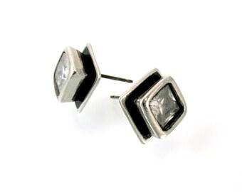 Sterling, Post Earrings, CZ, CZ Earrings, CZ Studs, Cz Posts, Stud Earrings, Silver Studs, Silver Posts, White Cz, Square Earring, 1192b