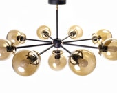 Mid-Century inspired chandelier with glass globes