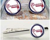 Sporty gift, Braves baseball, Atlanta Braves MLB baseball tie bar, cufflinks, gift set,Braves tie slide, tie bar,tie clip, baseball gift set