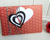 Red Valentine Gift Wrap Paper Set - 3D Hand Cut Heart Tags