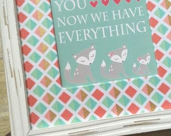 Baby Girl Fox Nursery Print, Girl Woodland Nursery Decor, Coral and Aqua Nursery Print, Fiona Fox Print, Playroom, Baby Shower Gift - 8x10