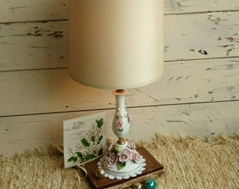 Antique China Rose Working Lamp With Shade - Vintage Working Rose Accent Light, Bedside Lamp, Cottage + French Chic Lighting, Shabby Chic