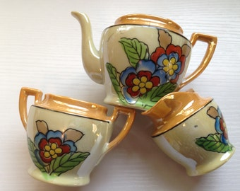 3 Piece Vintage Lusterware Toy Dishes