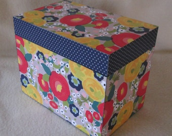 Colorful Recipe Box, Floral and Polka Dot Recipe Box, 4 X 6 or 5 X 7 Wood Recipe Box,  Shower Gift - Wedding Gift - READY TO SHIP