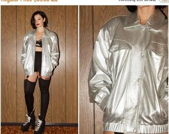 SALE Vintage RARE 80s 90s Vakko Made in USA Club Kid Raver Shiny Silver Metallic Leather Bomber Button Up  Pocket Rain Coat Jacket S M L
