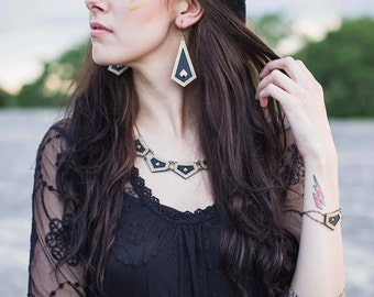 CORBEL | bib necklace, laser cut wood and leather necklace