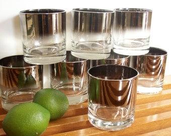 Silver Ombre Rocks Glasses, Scotch Glasses, Silver Fade Mid-Century Barware, Mad Men Style, Lowball Glasses, Tumblers, Silver Band Glassware