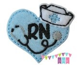 Nurse Heart - RN - Light Blue - Felt Embroidered Embellishment Clippie Cover SET of 4  Multiple Sets Available