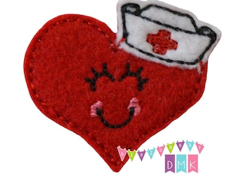 Heidi the Heart Nurse - RED - Felt Embroidered Embellishment Clippie Cover SET of 4  Multiple Sets Available