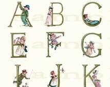 Kate Greenaway Alphabet 002 - Wonderful Vintage  Alphabet Print - 11 x 17 inch