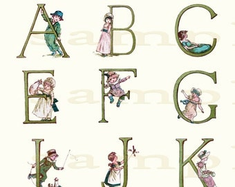 Kate Greenaway Alphabet 002 - Wonderful Vintage  Alphabet Print - 11 x 17 inch