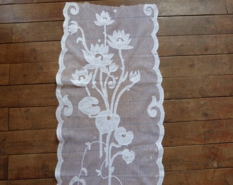 Antique tambour lace window curtain drape long French handmade intricate floral whitework embroidery, arts and crafts panel w water lily