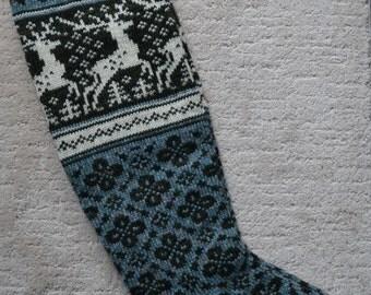 Wool Socks, Norwegian Scandinavian folk art, hand crafted 100% Wool, Fair Isle Reindeer, size Medium  Large,  knee length socks,