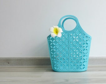 Vintage 80's Kitschy Sky Blue Plastic Jelly Shopping Basket Bag