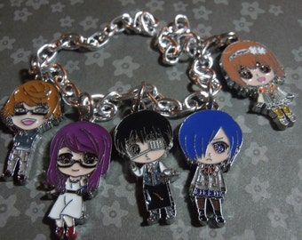 Tokyo Ghoul Bracelet, Anime Jewelry, Ken Kaneki Bracelet, Anime Charm Bracelet