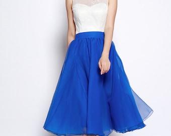 Blue Tulle Skirt Tea length Tutu Skirt Fixed Waist tulle tutu Princess Skirt Wedding Skirt - NC701