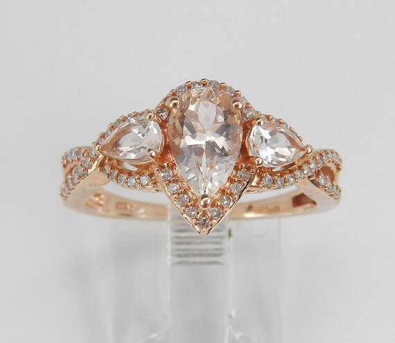 Morganite and Diamond Halo Engagement Promise Three Stone Ring Rose Gold Size 7.25