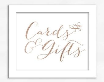 Cards and Gifts Print in Rose Gold Foil Look - Faux Metallic Calligraphy Wedding Gift Table Sign for Reception or Shower (4002)
