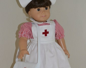 Pretty Nurse/Candy Striper outfit for 18 inch doll
