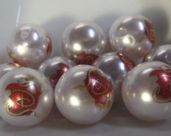20mm, 10CT, Apple, Disney Inspired Pearl Beads, Acrylic Beads, Round, Solids, H4