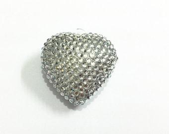 42mm Silver Rhinestone Heart Pendant