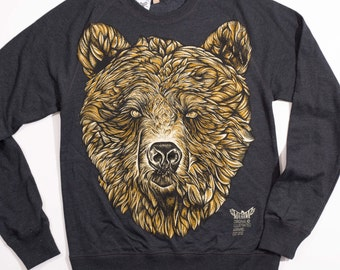 BEAR sweatshirt graphic sweatshirt organic jumper men's jumper unisex jumper bear illustration  urban apparel streetwear illustrated
