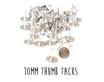 200 pieces - Tie Tacks - 10mm - Push Pins - Thumb Tack Blanks - Glueable Pad - 9mm length