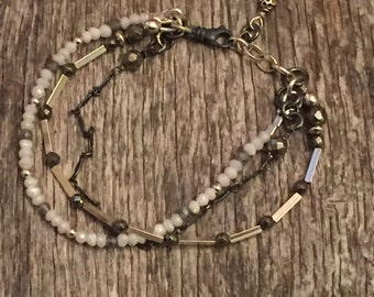 Multi Strand Oxidized Chain and Link - Mixed finishes - Gemstone - Sterling Silver Bracelet - Rustic Boho Handcrafted Artisan