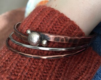 Sterling silver and copper bangles, bangle bracelet set, stacking bangles, bangles, copper bangle, sterling silver bangle, bangle bracelet