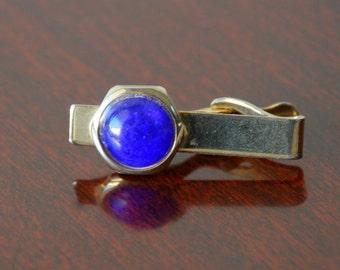Vintage Art Deco Blue and Gold Tie Clip