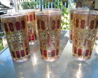 6 nice clean vintage 1970s CULVER glass GOLD and BURGANDY drinking glasses tumblers